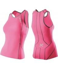 2XU WT2851A-SPK-CHC-L Damen-Leistung synthetischen rosa Tri Singlet - Größe L