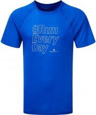 Ronhill RH-002068RH-00054-S Mens Voraus Kobalt neongelb Strich Kurzarm T-Shirt - Größe s